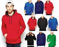 NEW Hooded Mens Hooded Sweatshirt Plain Pullover Hoodie Hoody Sweatshirt S - XXL