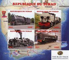 Chad 2011 CTO Steam Trains Engines Blue Train 4v M/S Railways Rail Stamps