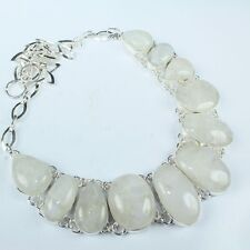 """Fire White Rainbow Moonstone Opal 925 Sterling Silver 20"""" Necklace #H00079"""