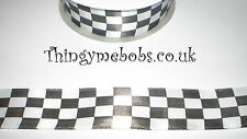 2M BLACK/WHITE CHECKERED/CHEQUERED FLAG/RACING CAR SATIN RIBBON-CRAFTS/MENS/MALE