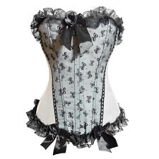 Ivory With Black Lace Corset / Basque Size S  Small.Approx Size  8 .