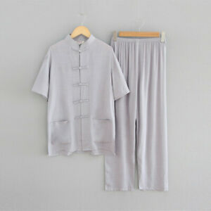 new beige  chinese men's cotton/linen kung fu suit pajamas S-2XL