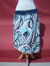 NWT Baby Phat Jean CO Blue White Grey Denim Cotton Women's Summer Skirt 16 USA