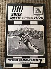 Football programme 1973 Notts County V Middlesbrough