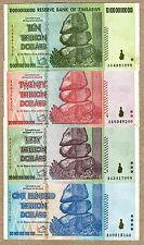 Zimbabwe 100, 50, 20 & 10 Trillion Dollars 2008 full set VF currency bills