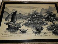 Japanese Monochromatic Oil Painting. Very Large, Excellent Condition.