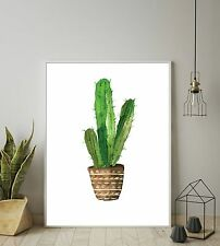watercolour cactus plant green print botanical tropical wall art decor poster