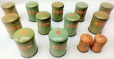 Toy Vintage Canisters . L Bros. Ltd. London England . Metal . Set of 13 and Lids