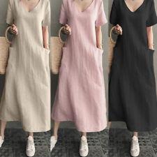ZANZEA Women V Neck Short Sleeve T-Shirt Dress Cotton Ethnic Long Shirt Dress