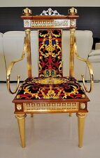 Dining Room Arm Chair- Solid Birch Wood Frame - 24K Gold - Victorian - Barcelona