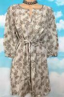 WHITE STUFF 10 BNWOT Stone Sage Palm Print 3/4 Sleeve Cotton Tunic Kaftan Dress