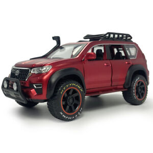 1:24 Toyota Prado SUV Off-road Model Car Diecast Toy Vehicle Sound Light Red