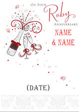 RUBY WEDDING CARD ANNIVERSARY!! Personalised QUALITY Card! ANY 2 NAMES!!