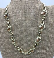 Vintage Signed Kramer Gold Tone And Amber Rhinestone Leaf Floral Design Necklace