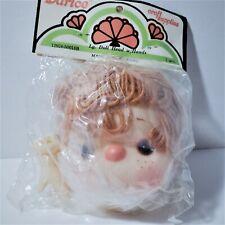 "Darice 4"" Craft Doll Head Hands Rust Yarn Hair Freckles Loopy Curly"
