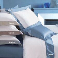 Yves Delorme Cocon White Queen Flat Sheet Baltic Blue Border Egyptian Cotton NEW