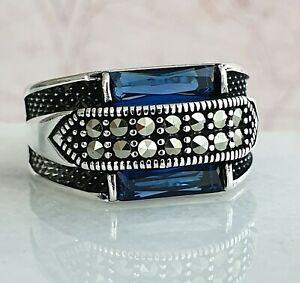 Turkish Ottoman Blue Sapphire  Marcasite Gemstone  925 Sterling Silver Men Ring