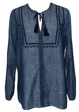 J.Crew Mercantile Chambray Peasant Top 100% Cotton Embroidered Size Large