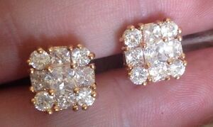 18K Yellow Gold Diamond Cluster Earrings   307