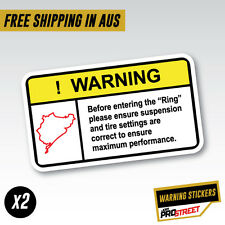 WARNING NURBURGRING x2 JDM CAR STICKER DECAL Drift Turbo Euro Fast Vinyl #0612