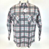 Fieldmaster Perma Prest Long Sleeve Mens Flannel Shirt Large USA Plaid