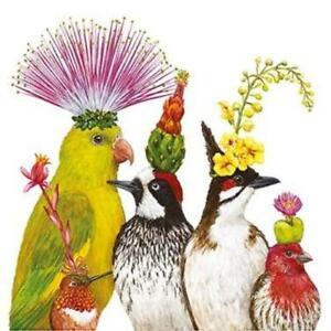 4 cocktail decoupage napkins bright birds