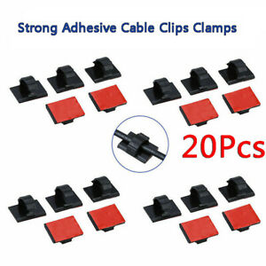 20pcs Adhesive Cord Management Cable Clips Black Wire Holder Organizer Clamp AU