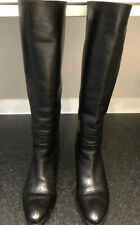 CHANEL GENUINE BLACK LEATHER KNEE HIGH CALFSKIN BOOTS SIZE 39 UK6 VGC £1200