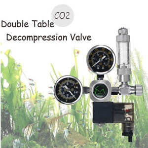 1× Dual Gauge CO2 Pressure Regulator Bubble Counter Solenoid Valve Aquarium Tool