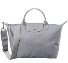 Longchamp Le Pliage Neo Medium Nylon Travel Crossbody Bag Cement GRAY AUTHNT