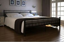 Metal Bed Frame Double Size Luxury Comfy Sturdy With Slats Strong Base 140 x 200