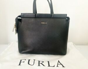 FURLA Genuine Small Handbag Tote Bag Black Leather Womens RRP £250