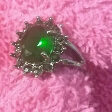 Emerald Goth Vampire Ring 10KT Black Gold Filled Jewelry Women's sz 5.75  R18