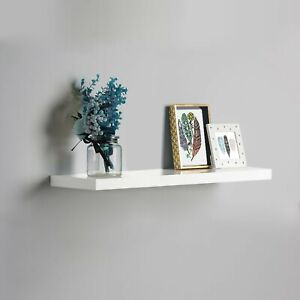 80cm Floating Shelf White Gloss Finish Wall Mounted Decoration Storage Any room