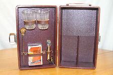 VTG Mid Century Portable Bar ~ Travel 2 bottle Bar Set