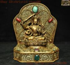Tibet Buddhism silver Filigree inlay turquoise Buddha Kwan-Yin GuanYin statue