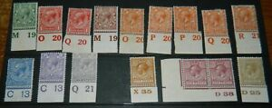 GB GEORGE V MINT CONTROLS VALUES TO 1/- (FINE MINT STAMPS)