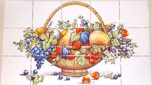 "Bountiful Fruit 15 pc Ceramic Tile Mural 4.25"" Kiln Fired Decor Back Splash"