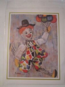 """LOT OF 4 CLOWN PRINTS BY MICHELE - 8"""" X 10"""" - IN PLASTIC SLEEVES - LOT 1"""