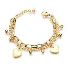 2 reihig Silber Gold Edelstahl Damen Armband Herz Kugel Anhänger Panzerkette