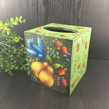 Tole Painted Square Wood Tissue Box Cover Signed Karen Younger Strawberries Frui