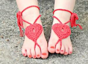 Crochet Heart anklets- barefoot sandals Brand new -OSFM- for girls RED