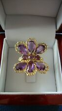 18K 750 SOLID GOLD BUTTERFLY FLOWER AMETHYST RING 10.1 GRAMS SIZE 6