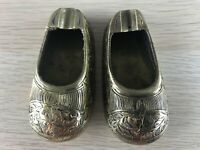 Pair of Vintage Polished & Etched Brass Indian slippers ashtrays gift display