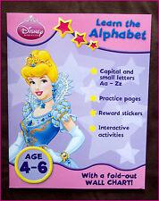 DISNEY PRINCESS AGE 4-6 ACTIVITY WORK BOOK Learn Alphabet Education +Wall Chart