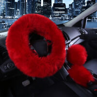 3Pcs Fur Wool Furry Fluffy Thick Car Steering Wheel Cover Red Wine Color Winter~