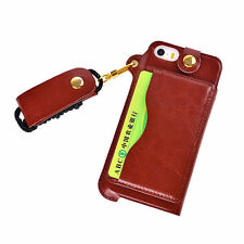 Leather Glossy Mobile Phone Fitted Cases with Strap