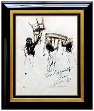 LeRoy NEIMAN Painting Original Gouache Signed Paris Playboy Art Rare Bar Scene