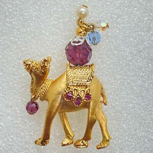 Signed NAPIER Vintage Jeweled CAMEL BROOCH Pin Purple Rhinestone Costume Jewelry