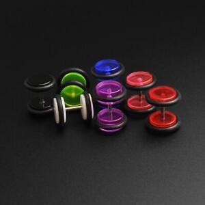 Fake Ear Stretcher Plugs Earring Acrylic Faux Gauge Plug 7 COLOURS AVAILABLE